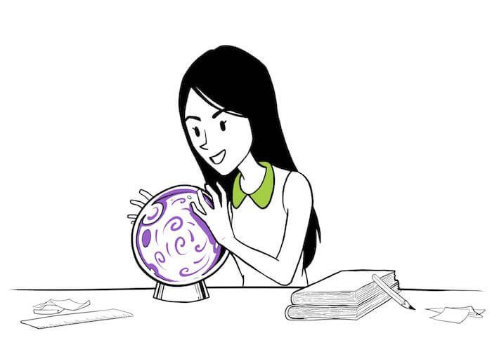 Student looking into a crystal ball