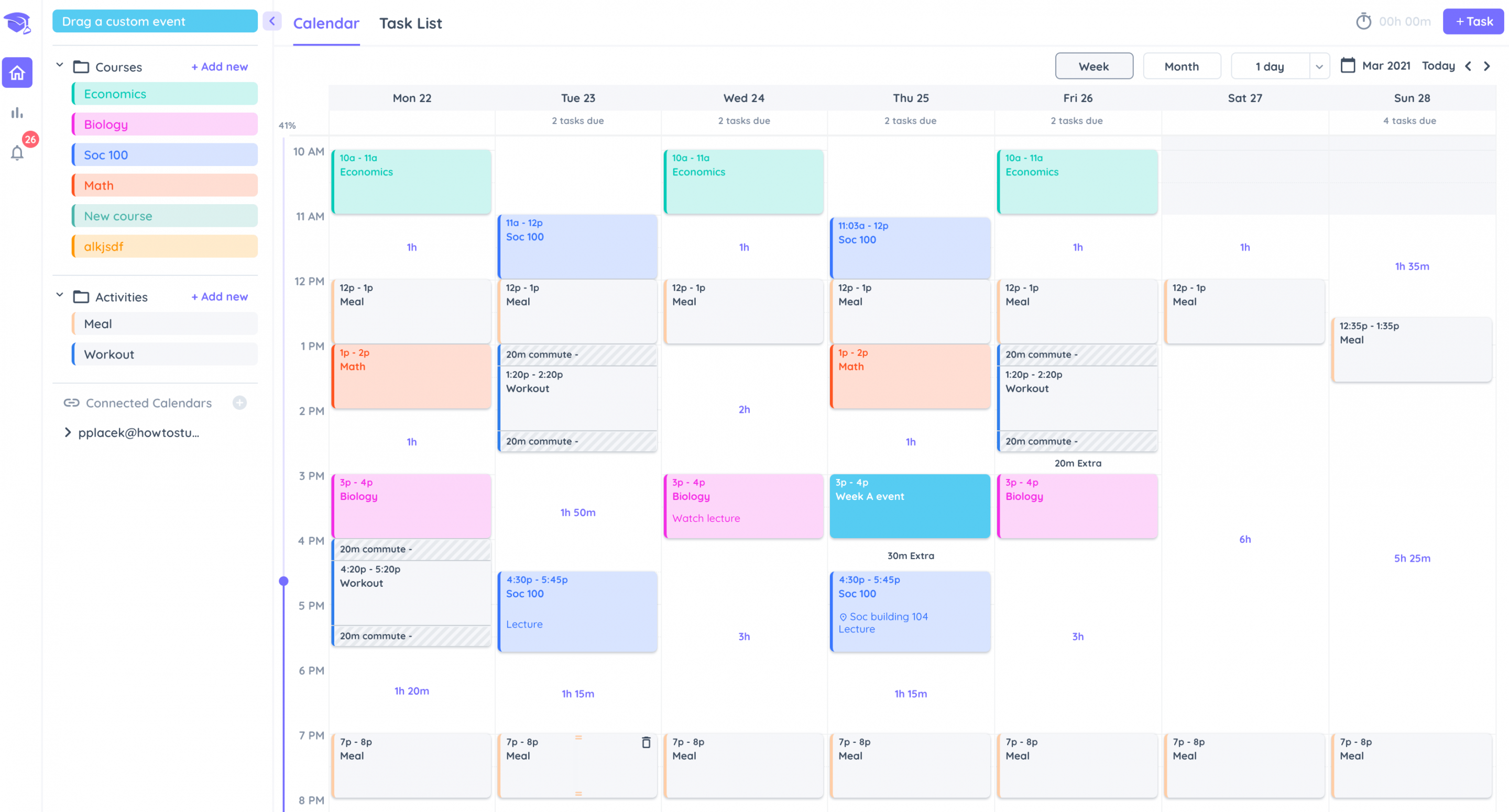 Study Timetable in Shovel ready for timeboxing