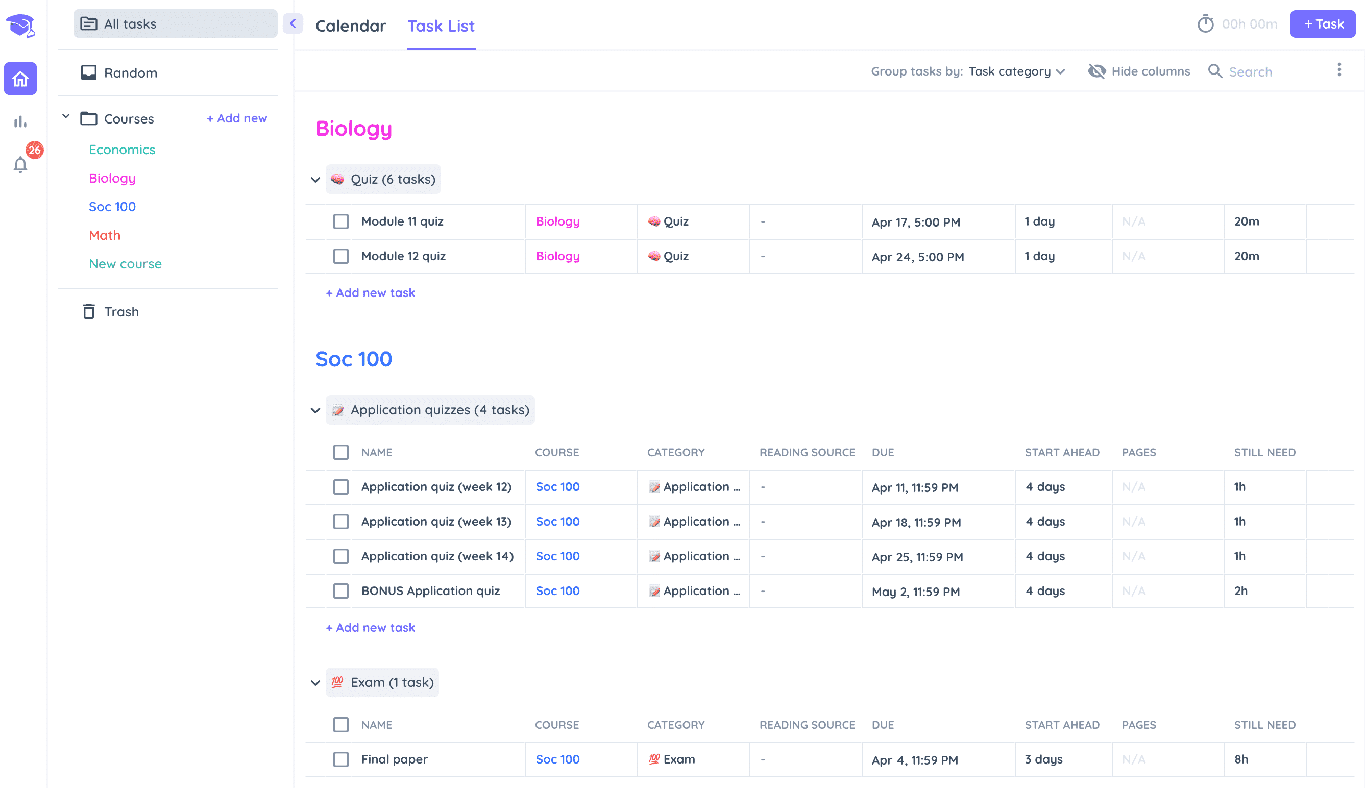 Your Schedule in Shovel Study Planner